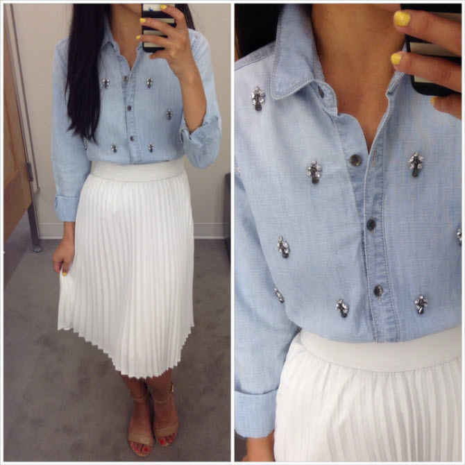 embellished chambray shirt