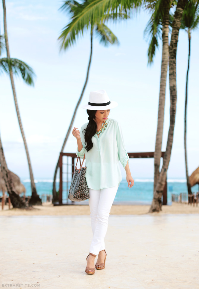 white jeans mint petite top 2