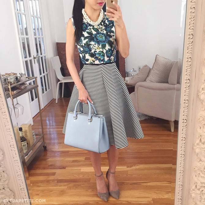 floral top striped skirt  outfit