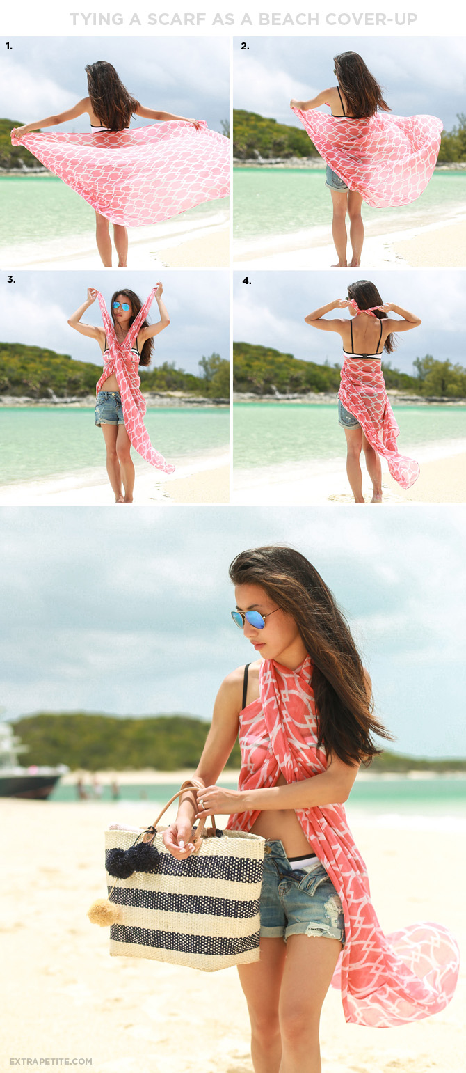 how to tie a scarf as a beach cover up sarong