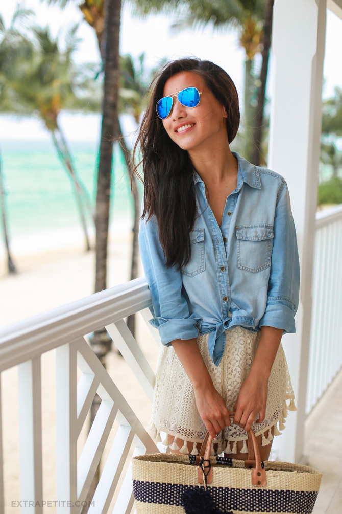 chambray shirt crochet shorts beach outfit2