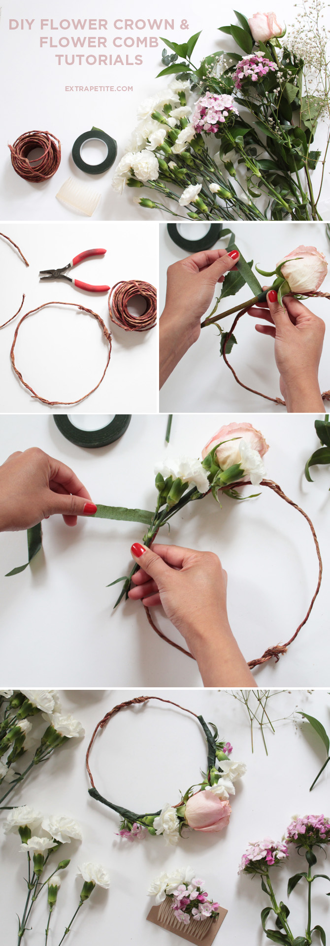 Flower crown comb diy tutorial bridal shower activity extra petite diy flower crown floral comb tutorial bridal izmirmasajfo