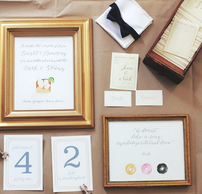 wedding calligraphy bar signs