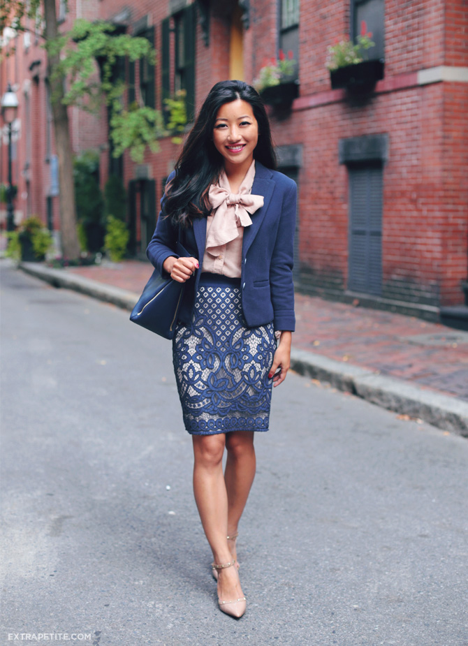 ann taylor lace skirt work outfit 3