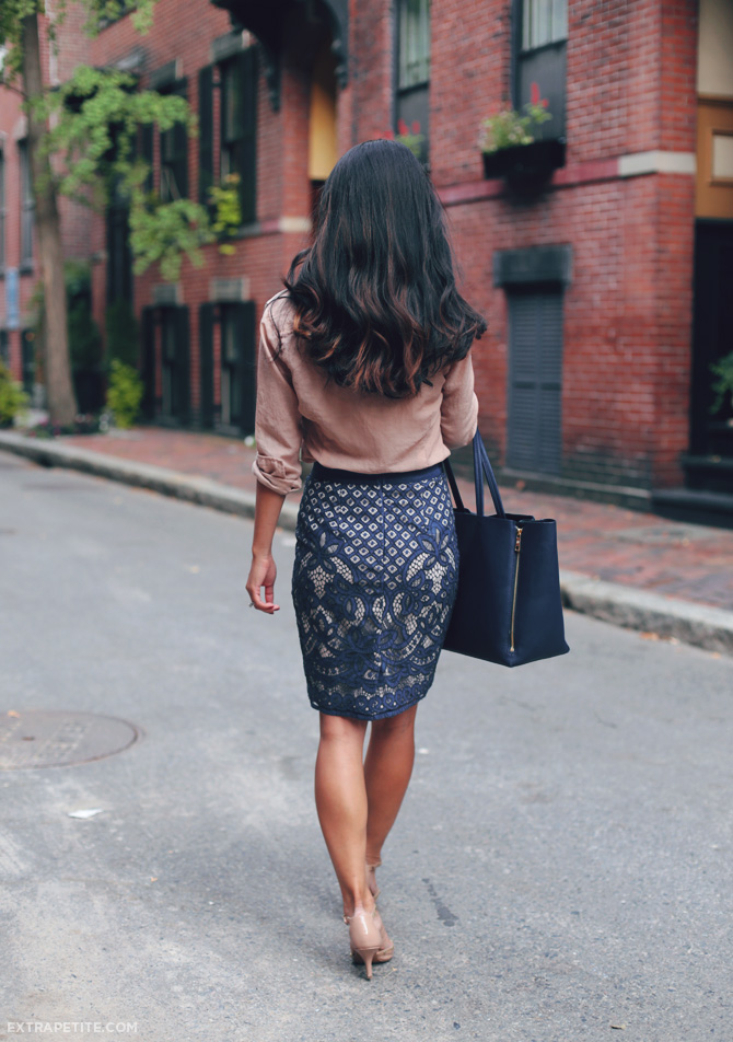 ann taylor lace skirt work outfit 4