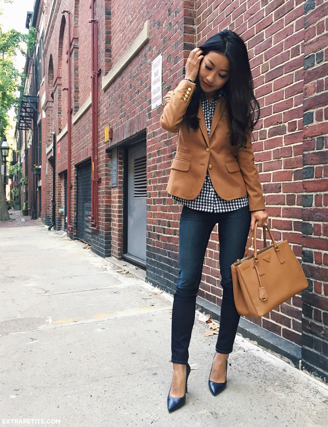 casual fridays outfit jeans blazer gingham