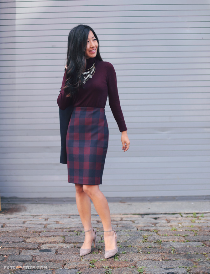 business outfit turtleneck sweater pencil skirt
