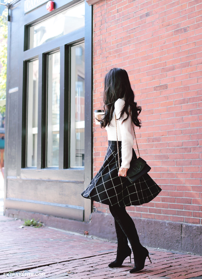 fall outfit - plaid circle skirt tall boots
