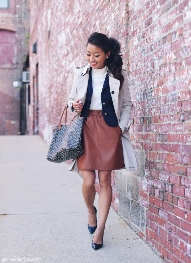 trench coat leather skirt fall outfit