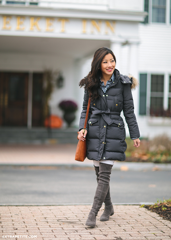 winter outfit puffer coat stuart weitzman lowland boots