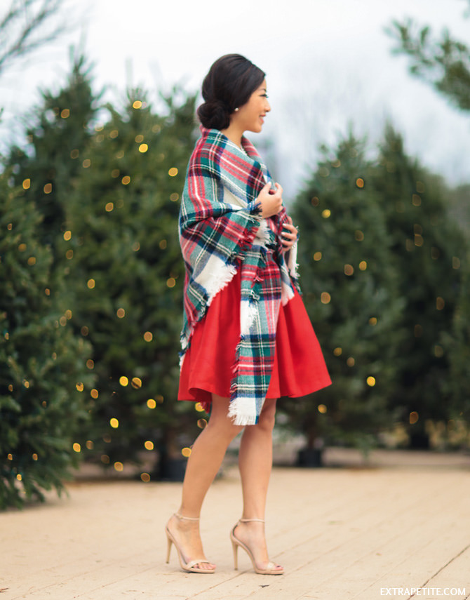 red bow dress tartan scarf wrap christmas