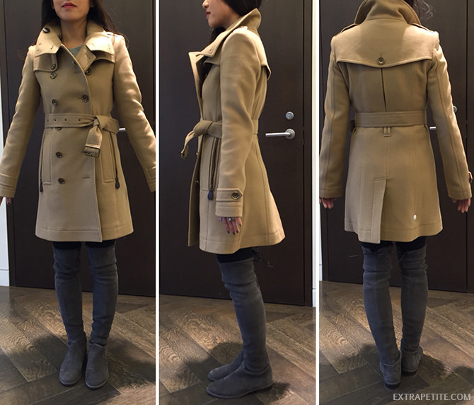 Burberry brit wool cashsmere trench coat petite women review 2