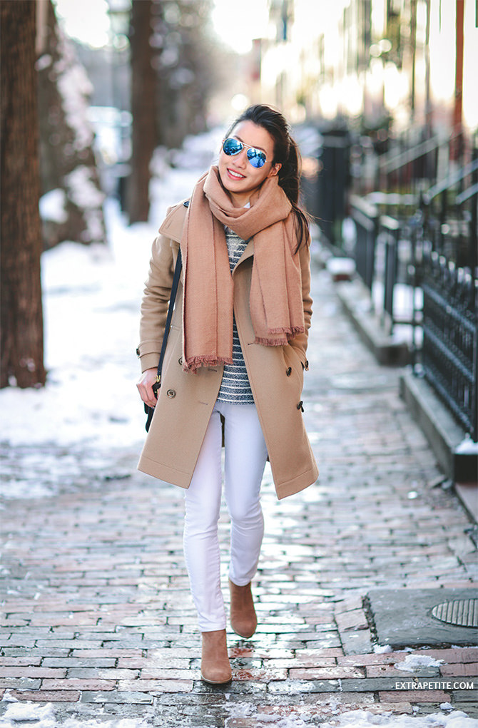 camel coat stripes white jeans winter outfit