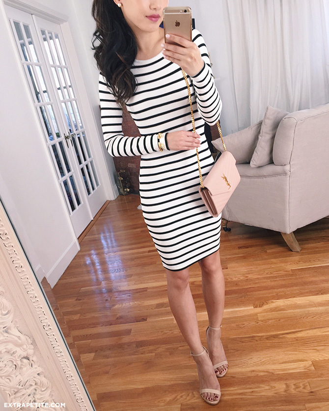 black white striped dress outfit asos petite