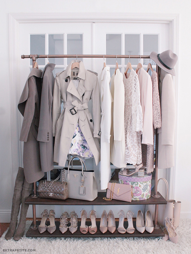 spring fashion wardrobe_pink gray jackets dresses shoes