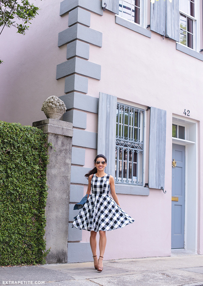 gingham check flare dress spring preppy fashion