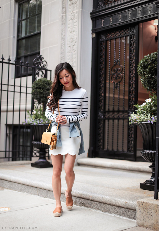 topshop petite striped top scalloped skirt summer outfit