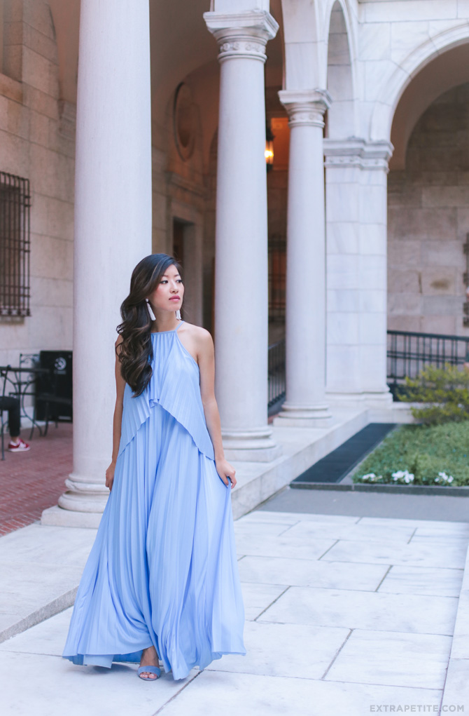 asos pleated blue maxi dress_petite fashion