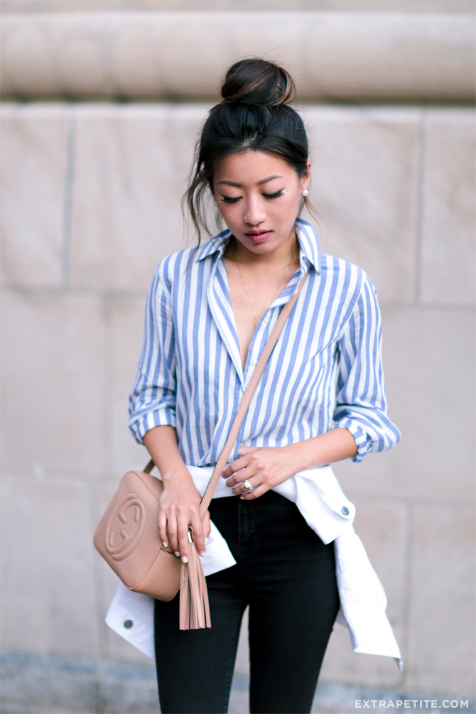 black jeans striped top gucci bag casual outfit