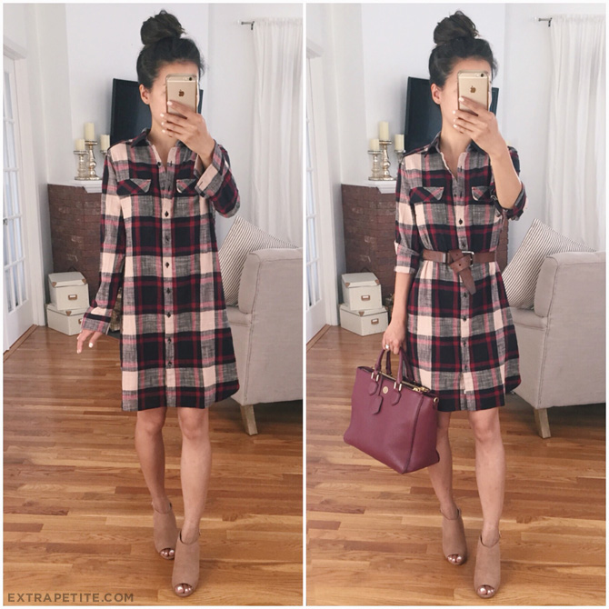 plaid shirtdress fall outfit tory burch nordstrom anniversary sale