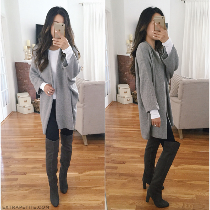long gray cardigan tall boots fall outfit_petite style