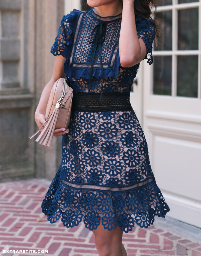 self portrait navy lace short dress_extra petite blog boston