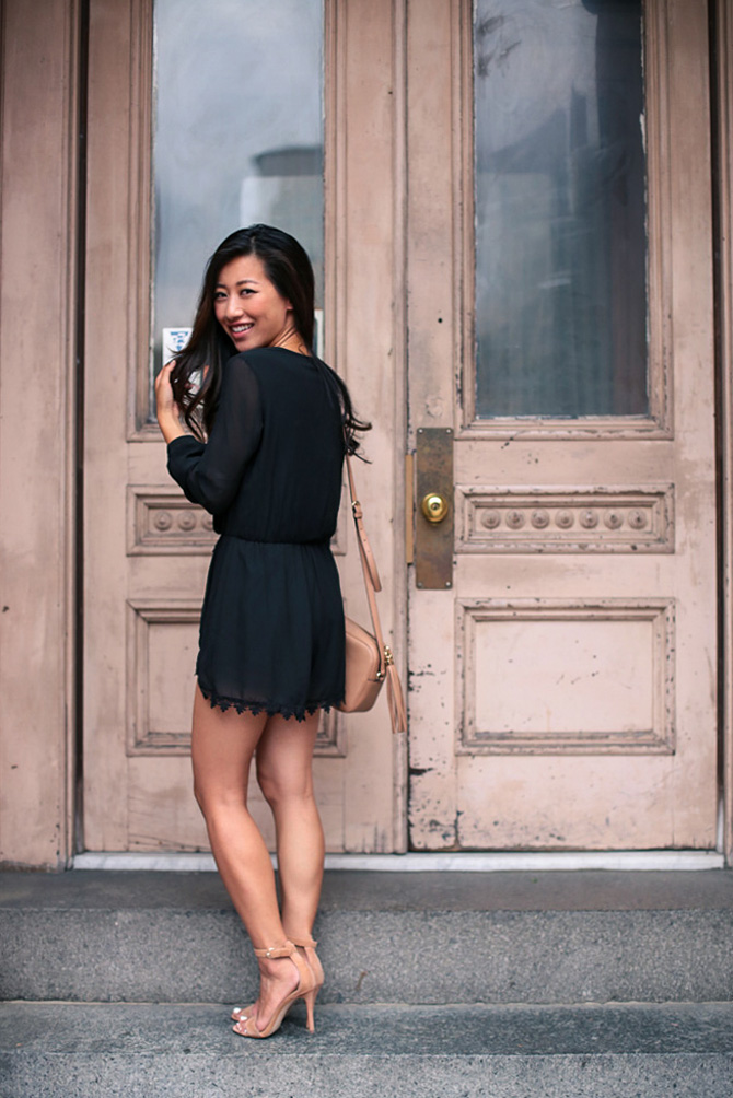 black romper date night summer outfit_extra petite boston blog