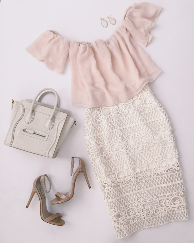 pink white dressy lace skirt oufit idea