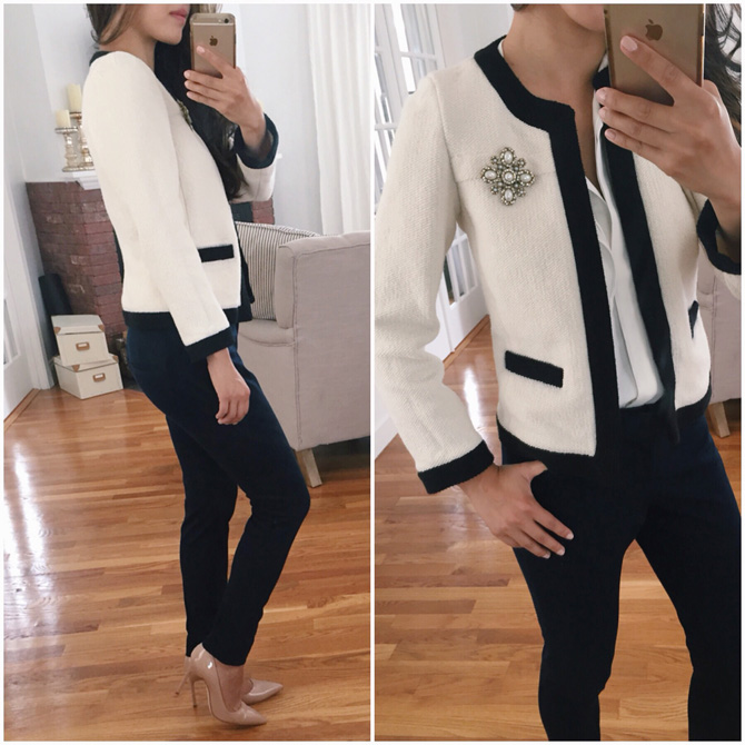 ann taylor petites chanel style tipped cardigan jacket