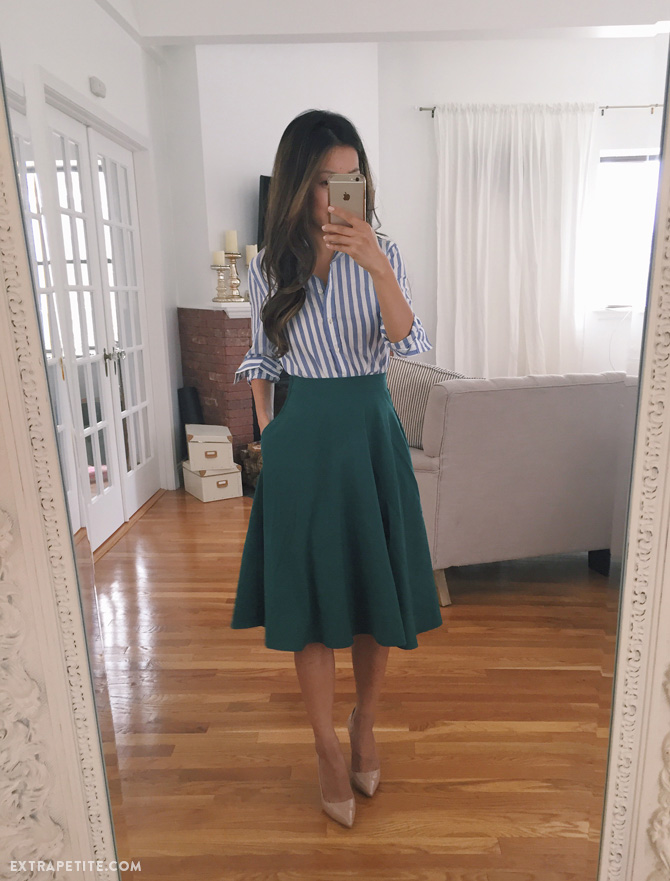 Green flare skirt Banana Republic stripe shirt work outfit