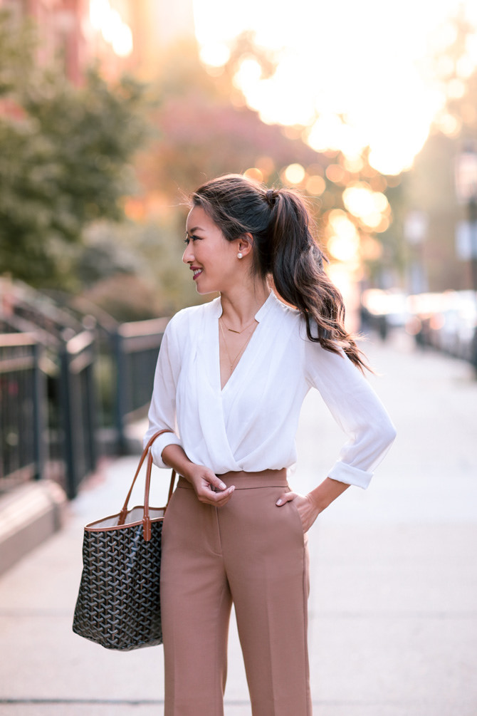 classic office outfit white blouse tan pants ann taylor petite