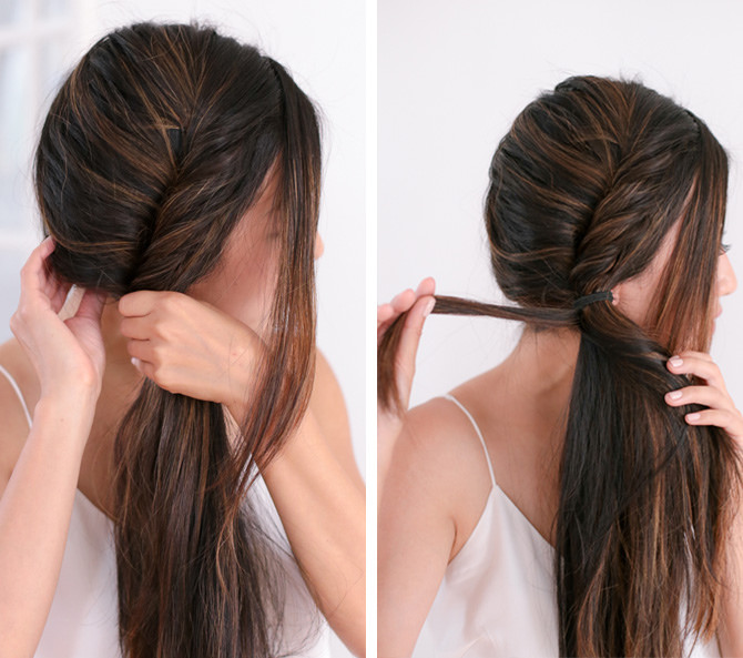Side fishtail french braid tutorial step 3