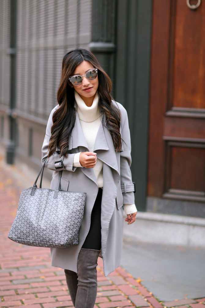 gray chicwish drape trench coat winter outfit extra petite