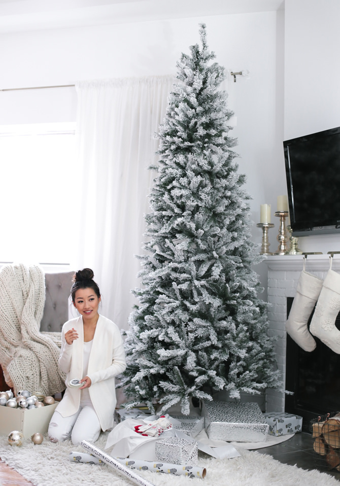 white christmas living room fireplace holiday home decor