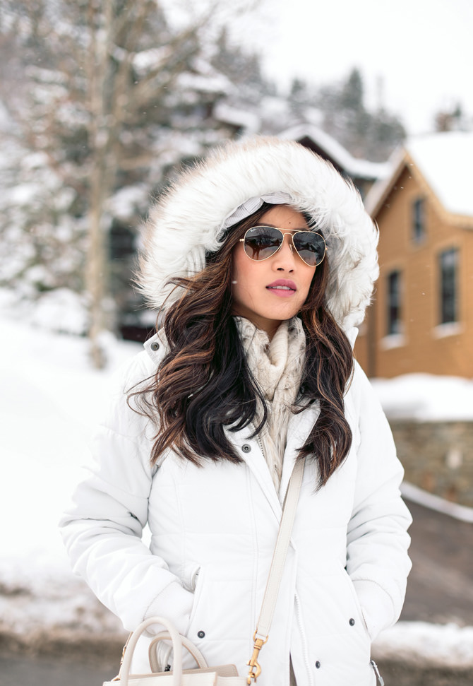 winter white faux fur coat snow outfit ideas utah