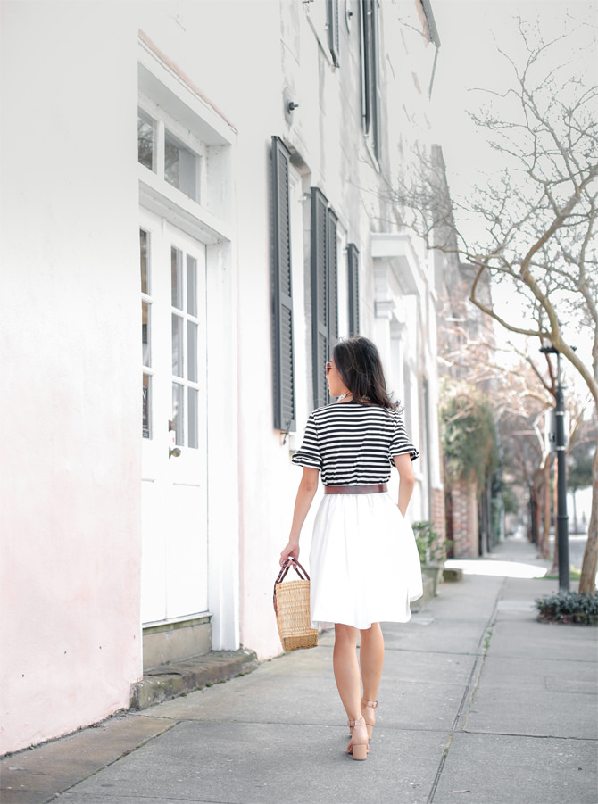 striped tee white skirt cute summer outfit