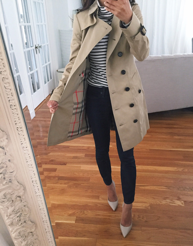 Burberry sandringham slim khaki trench coat petite women