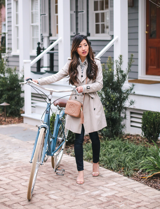 burberry trench gucci soho bag spring biking outfit