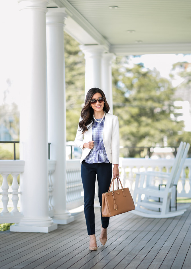 navy pants professional work outfit ideas petite fashion blog