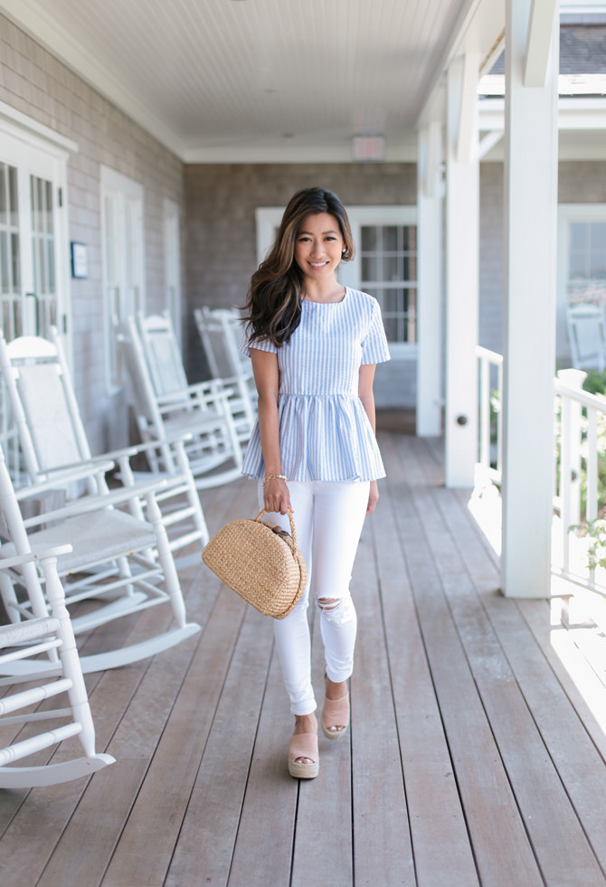 nantucket cape cod summer outfit seersucker top white jeans wedges