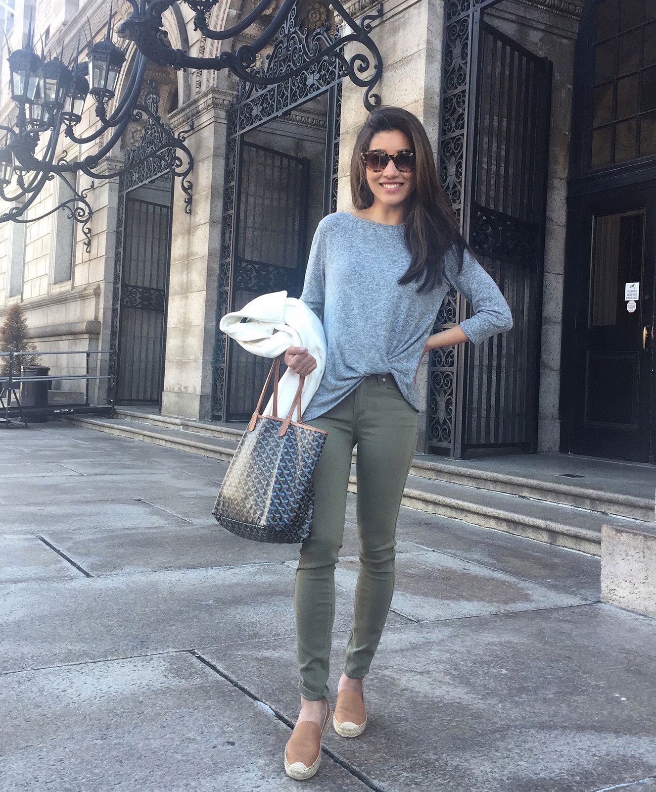 paige petite jeans soludos goyard tote casual outfit