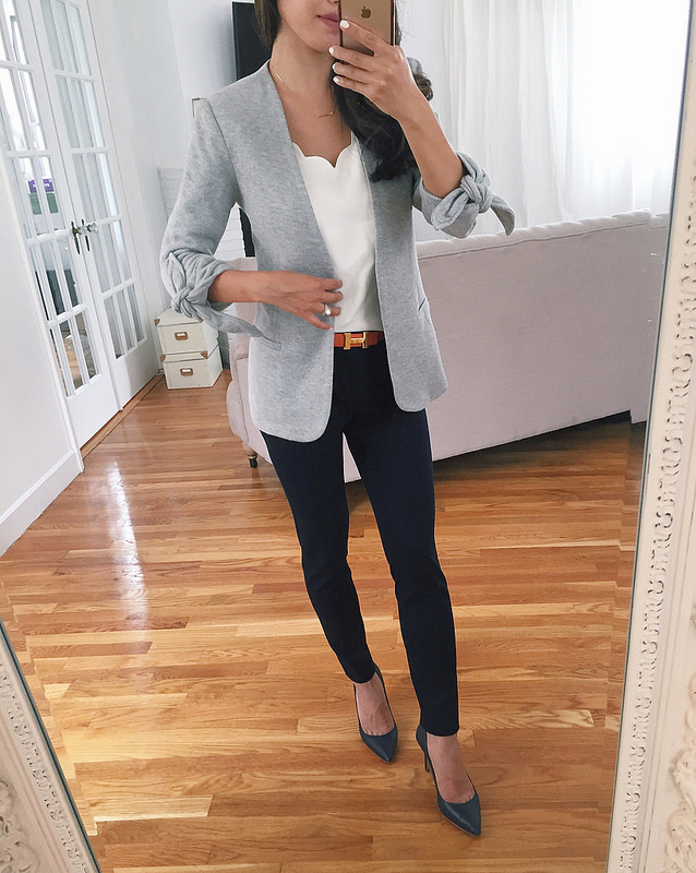 knit grey blazer navy pants work office wear