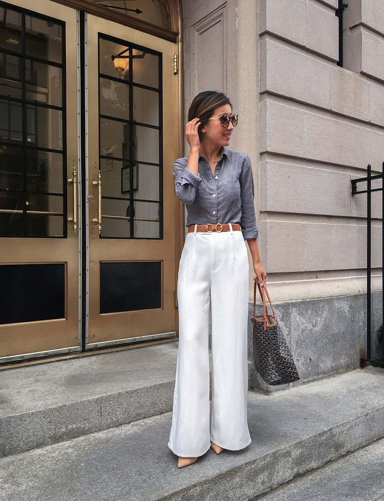 work outfit white wide leg pants chambray shirt petite office style