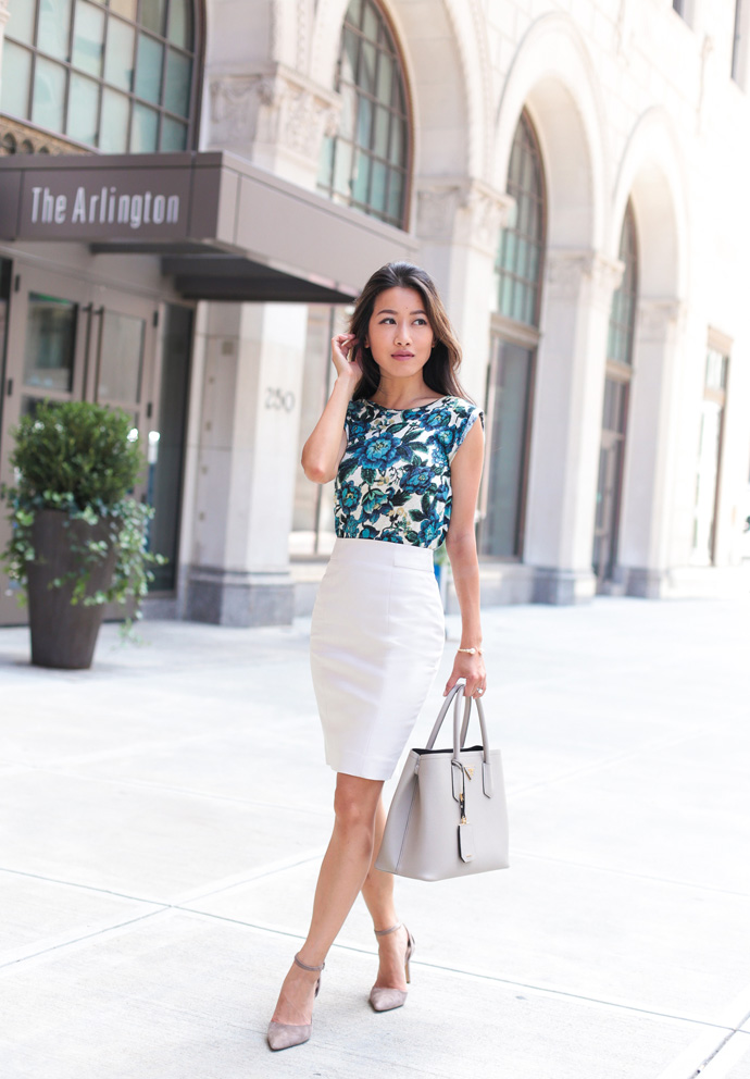 7555a2506a3 business casual pencil skirt outfit extra petite blog