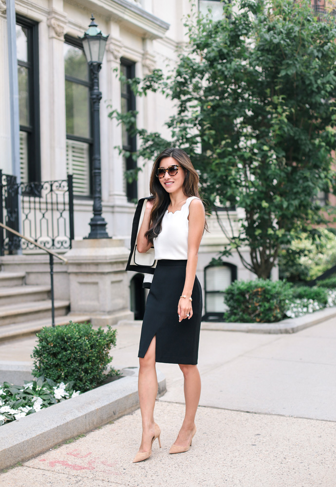 classy pencil skirt work wear petite women fashion blog