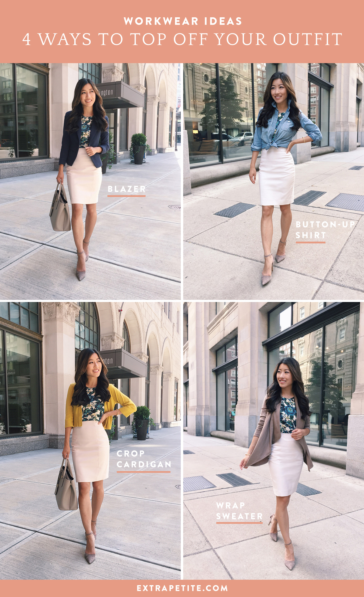 work wear office outfit ideas by extra petite fashion blog