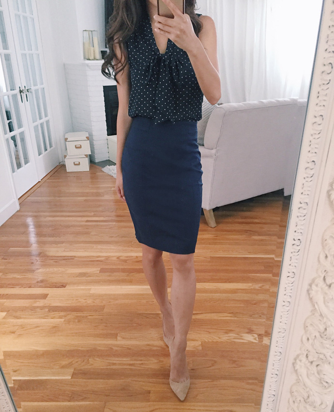 navy blue pencil skirt work fashion