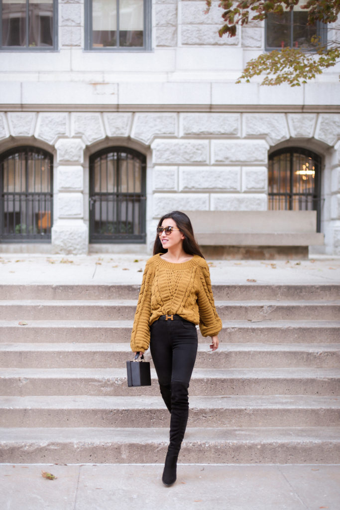 casual fall outfit ideas with tall boots for petites