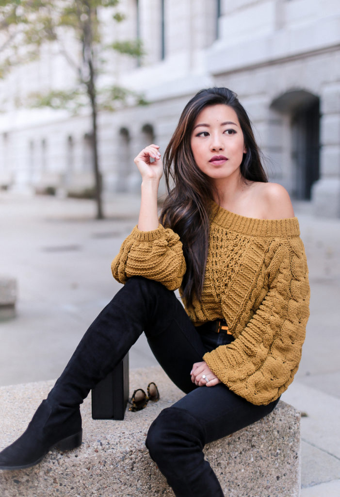 off shoulder cable sweater cozy fall fashion