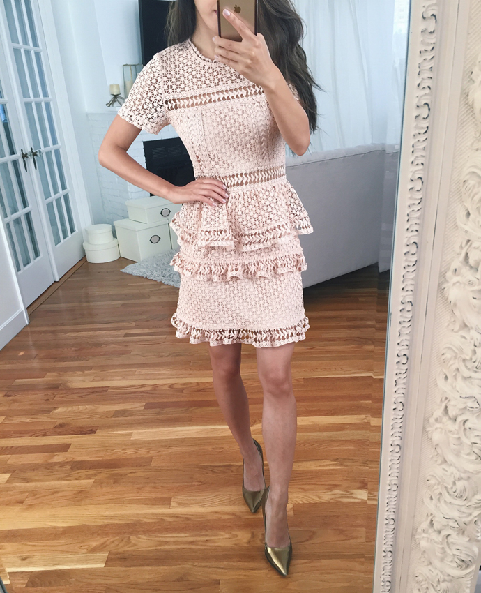 lace cocktail party dress blush pink bloomingdales petite